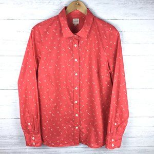 J. Crew The Perfect Shirt Women's Red Anchor Print